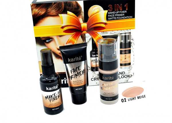 Kit Machiaj 3 in 1 Karite - Baza Machiaj, Spray Fixare si Fond de Ten - 01 Ivory - PlusBeauty.ro 0