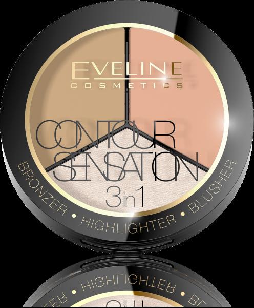 Contour Sensation 3 in 1 - Bronzer, Highlighter, Blusher - Eveline - 02 Peach Beige - PlusBeauty.ro 0