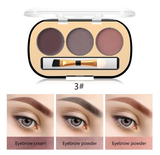 Trusa Sprancene 3 in 1 Eyebrow Powder & Eyebrow Cream Miss Rose - 03 - PlusBeauty.ro 1