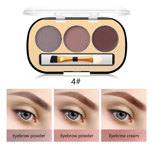 Trusa Sprancene 3 in 1 Eyebrow Powder & Eyebrow Cream Miss Rose - 04 - PlusBeauty.ro 1