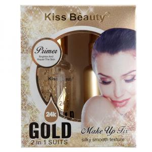 Kit Gold 2 in 1 Suits - Baza Machiaj 24K Gold Primer, Spray Fixare Machiaj 24K Gold Makeup Fix Kiss Beauty1