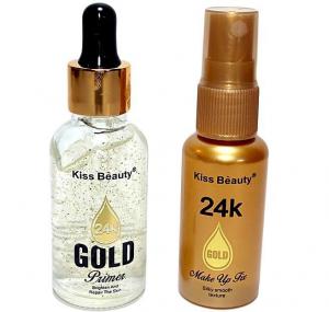 Kit Gold 2 in 1 Suits - Baza Machiaj 24K Gold Primer, Spray Fixare Machiaj 24K Gold Makeup Fix Kiss Beauty0