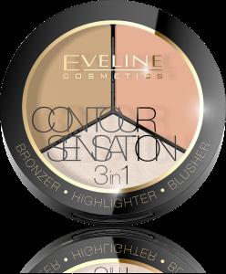 Contour Sensation 3 in 1 - Bronzer, Highlighter, Blusher - Eveline - 02 Peach Beige0