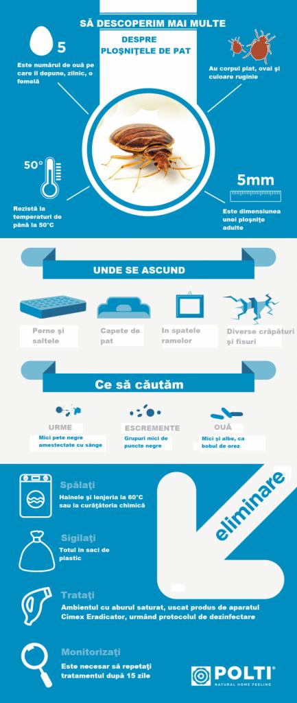 Cimex Eradicator, info grafic cum scap de ploșnițe