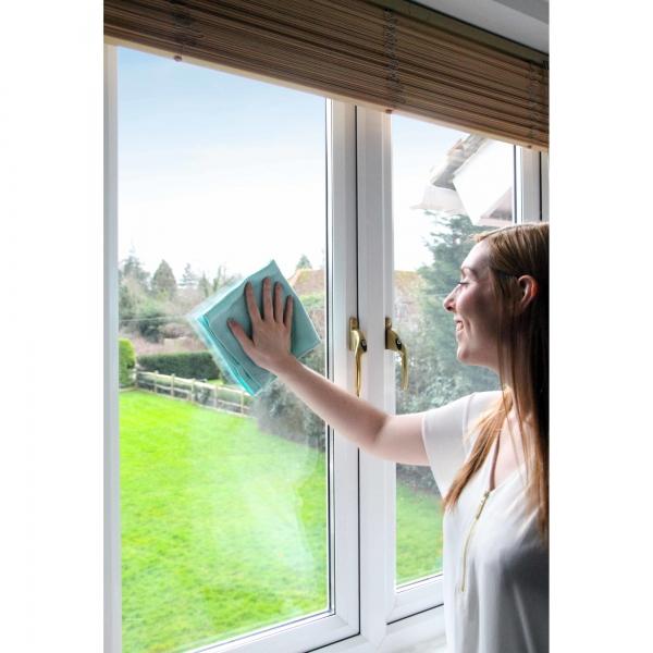 Set doua lavete premium din microfibra e-cloth pentru geamuri, oglinzi, vitralii, pervaze si tocarie 4