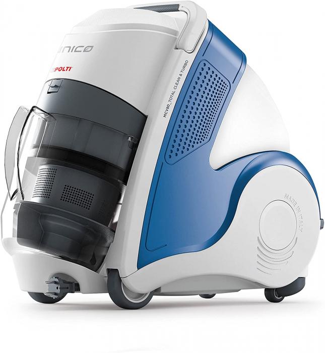 Aspirator Polti Unico MCV 8o Total Clean & Turbo, Filtrare Multiciclonica 5 Stadii, Functie Igienizare Abur si Uscare , 2200 W, Filtru Hepa, Alb/Albastru 2