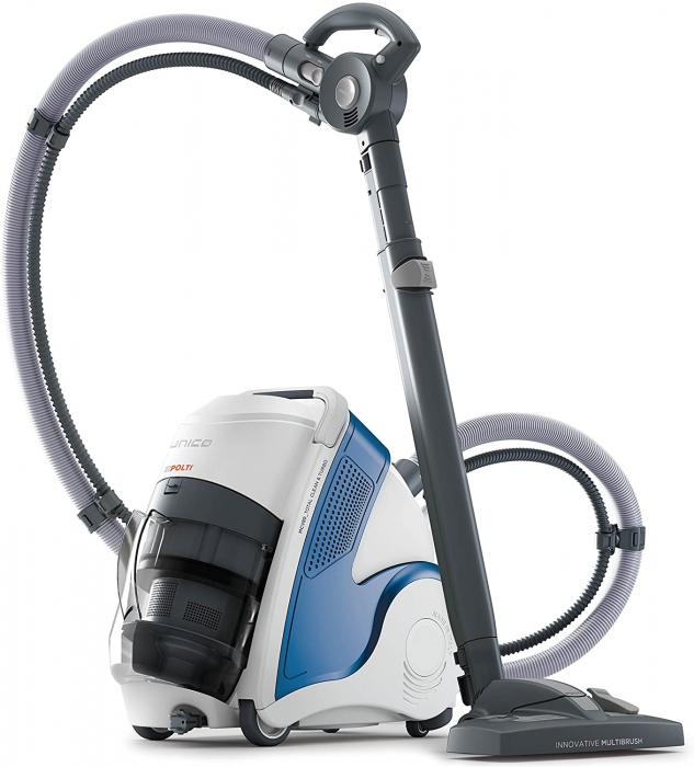 Aspirator Polti Unico MCV 8o Total Clean & Turbo, Filtrare Multiciclonica 5 Stadii, Functie Igienizare Abur si Uscare , 2200 W, Filtru Hepa, Alb/Albastru 0