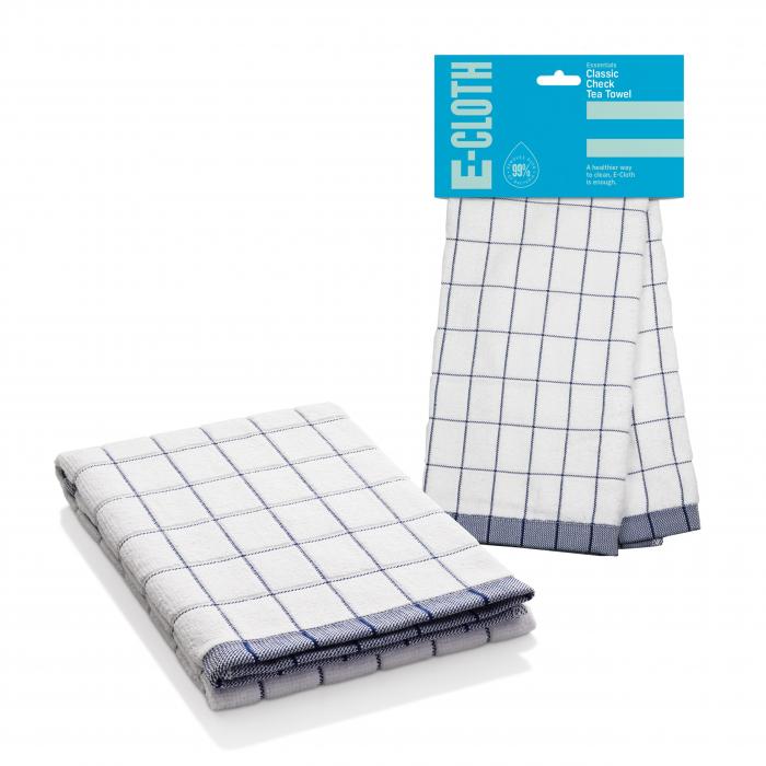 Prosop Premium E-Cloth de Bucatarie pentru Pahare, Farfurii de Portelan, Tacamuri, 60 x 40 cm, Alb/Albastru [0]