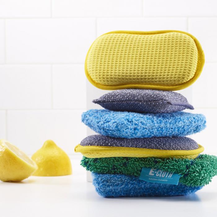 Set Doi Bureti Premium E-Cloth din Microfibra pentru Bucatarie si Baie, Cada, Chiuveta [6]