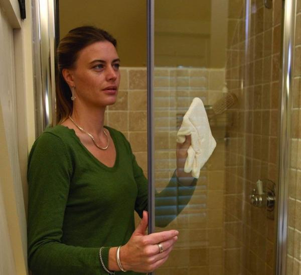 Set Doua Lavete Premium E-Cloth din Microfibra pentru Curatare si Lustruire Cabina de Dus, 32 x 32 cm, Carlig cu Ventuza 4