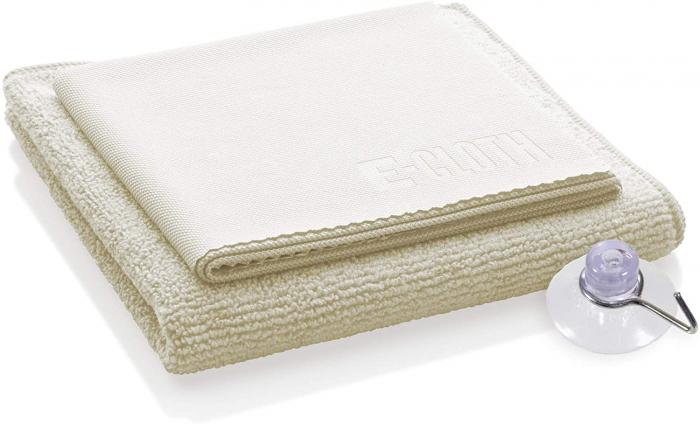 Set Doua Lavete Premium E-Cloth din Microfibra pentru Curatare si Lustruire Cabina de Dus, 32 x 32 cm, Carlig cu Ventuza [2]