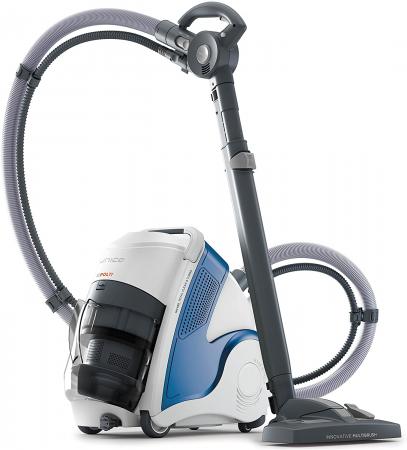 Aspirator Polti Unico MCV 8o Total Clean & Turbo, Filtrare Multiciclonica 5 Stadii, Functie Igienizare Abur si Uscare , 2200 W, Filtru Hepa, Alb/Albastru