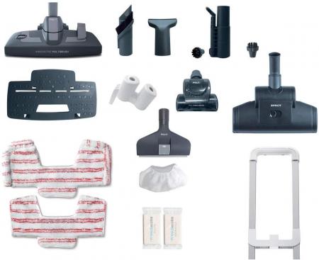 Aspirator Polti Unico MCV 8o Total Clean & Turbo, Filtrare Multiciclonica 5 Stadii, Functie Igienizare Abur si Uscare , 2200 W, Filtru Hepa, Alb/Albastru1