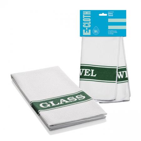 Prosop Premium de Bucatarie E-Cloth pentru Curatat Pahare, 60 x 40 cm, Alb/Verde [0]