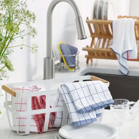 Prosop Premium E-Cloth de Bucatarie pentru Pahare, Farfurii de Portelan, Tacamuri, 60 x 40 cm, Alb/Albastru [3]