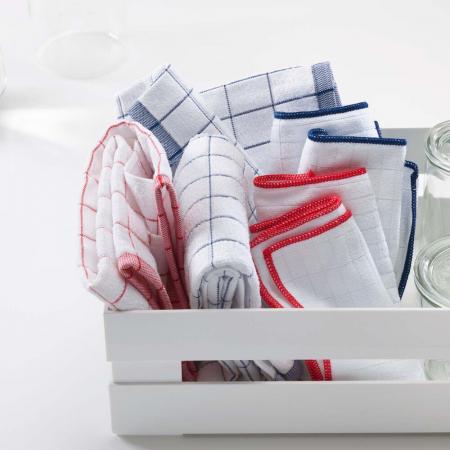 Prosop Premium E-Cloth de Bucatarie pentru Pahare, Farfurii de Portelan, Tacamuri, 60 x 40 cm, Alb/Albastru [4]