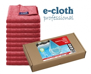 Set 10 x Laveta Premium E-Cloth Universala din Microfibra, Bucatarie, Baie, Geamuri, Praf, 32 x 32 cm, Rosu0