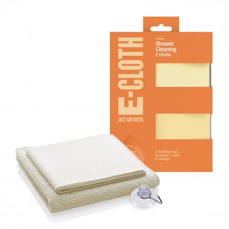 Set Doua Lavete Premium E-Cloth din Microfibra pentru Curatare si Lustruire Cabina de Dus, 32 x 32 cm, Carlig cu Ventuza [0]