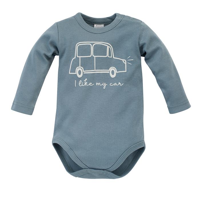 Body cu maneca lunga, baieti, bumbac 100%, Albastru, Little Car [0]