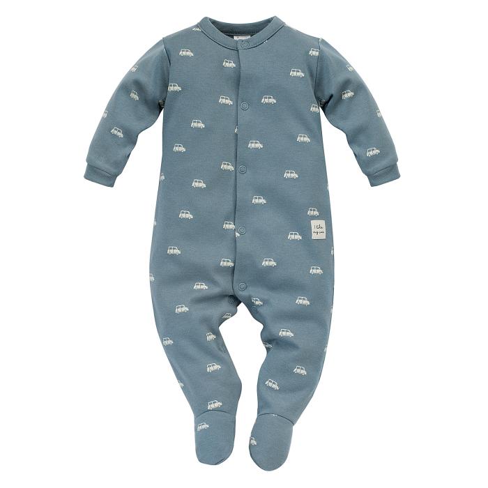 Pijama intreaga cu talpa, baieti, bumbac 100%, Albastru, Little Car [0]