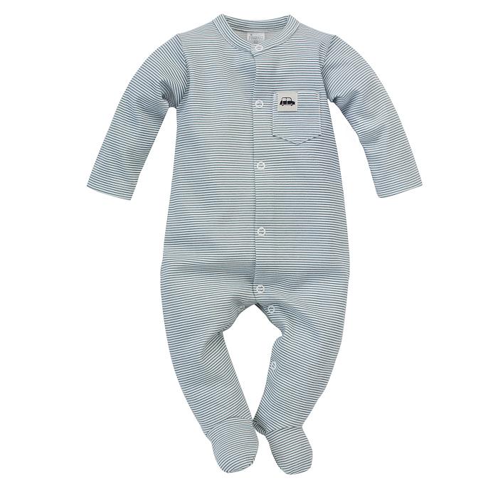 Pijama, intrega cu talpa, baieti, bumbac 100%, Alb/Dungi, Little Car [0]