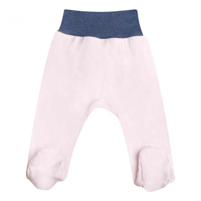 Pantaloni pijama cu talpa 100% bumbac_roz pal_Rose 0