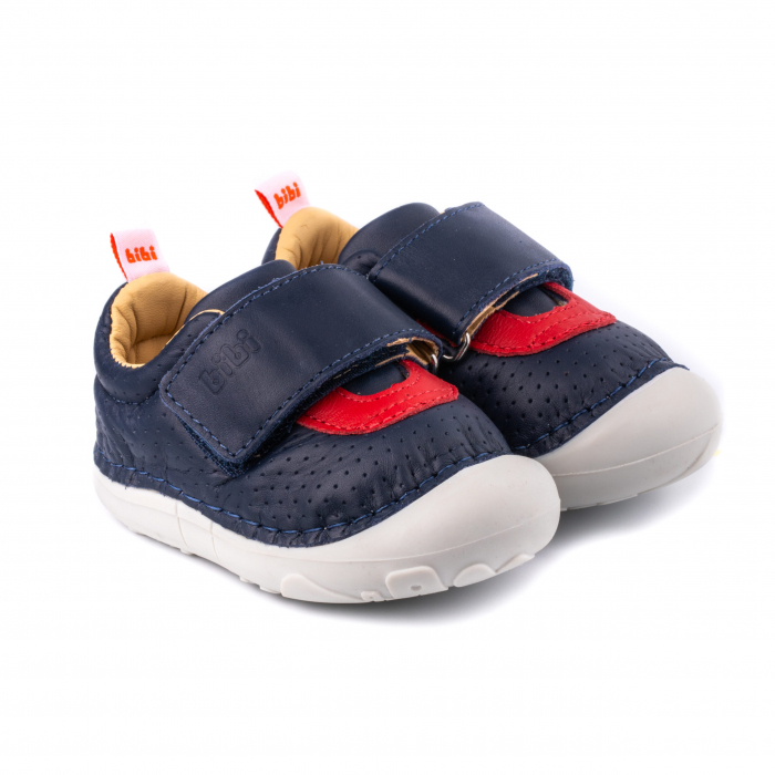 Pantofi piele, baieti, Albastru/Rosu, Grow 0
