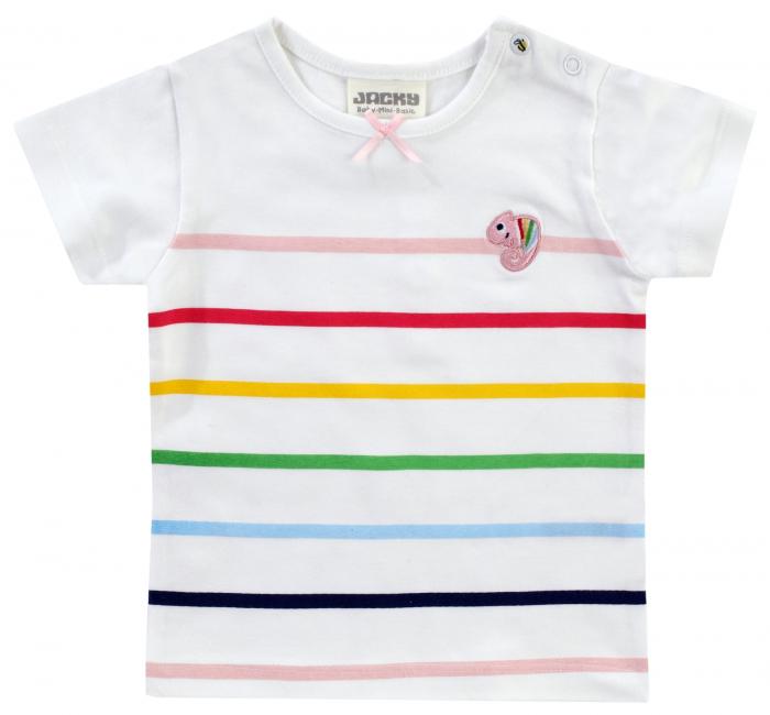 Tricou cu maneca scurta, fete, Alb/Dungi colorate, Colour up my life [0]