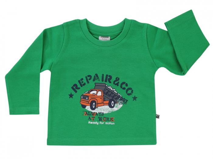 Bluza maneca lunga,Verde/Camion, bumbac 100%, Basic Line Boys 0