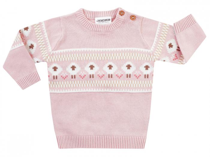 Bluza cu maneca lunga, tricotata, bumbac 100%, fete, Roz/Fluffy 0