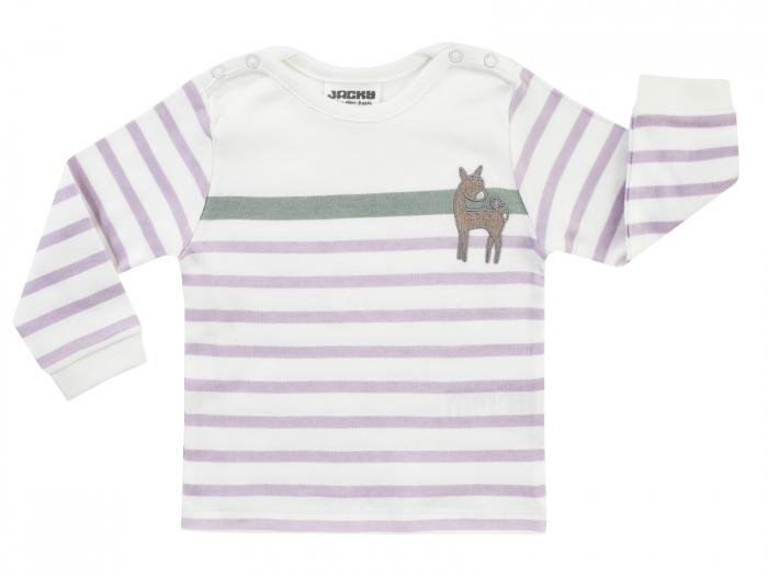 Bluza cu maneca lunga, bumbac 100%, fete, Alb/Dungi mov, Woodland Tale 0