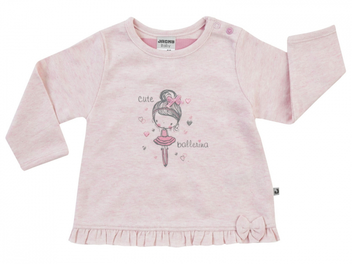 Bluza fete, maneca lunga, Roz, Cute Ballerina 0