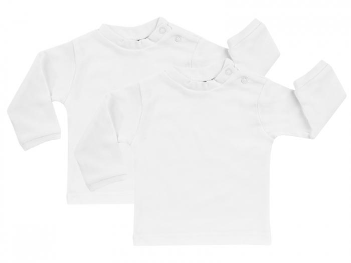 Bluza maneca lunga,Alb, 2buc/set, bumbac 100%_Basic 0