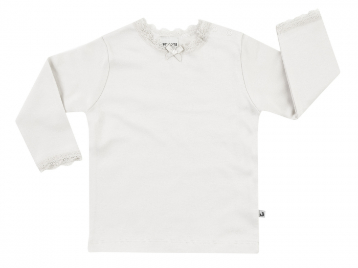 Bluza maneca lunga, guler cu dantela, ecru, bumbac 100%_Basic 0