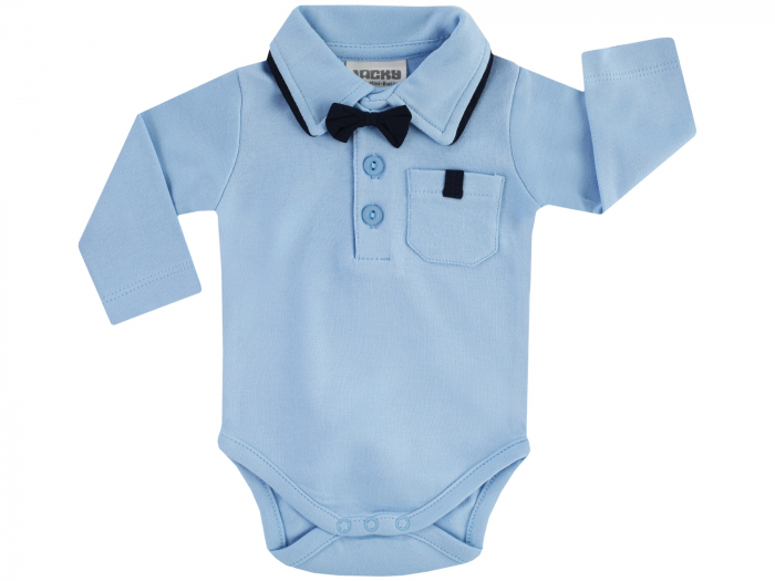Body tip camasa cu maneca lunga si papion detasabil, bumbac 100%, Albastru [0]