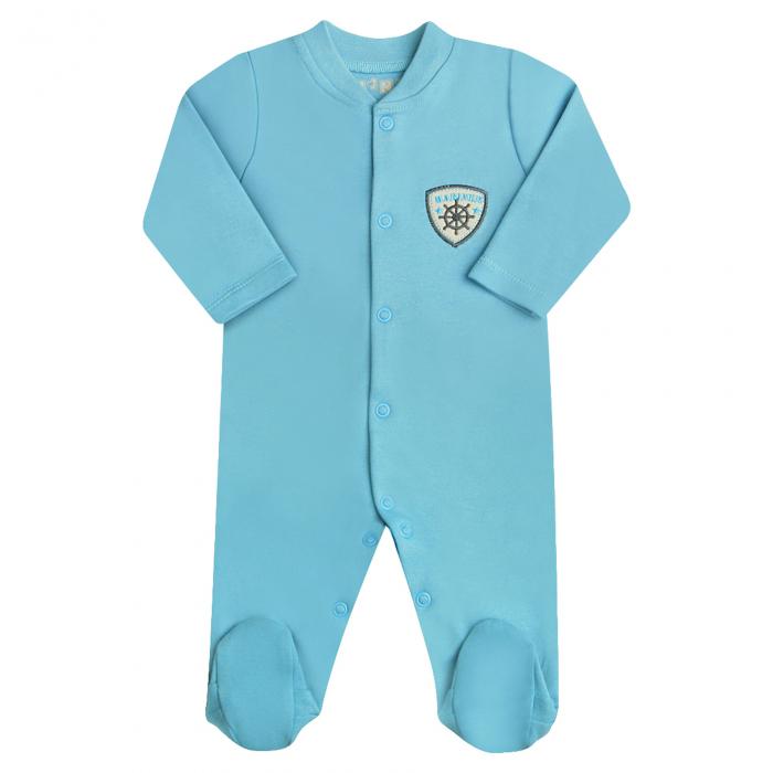 Pijama tip salopeta intreaga cu talpa bumbac 100%_blue_Marin 0