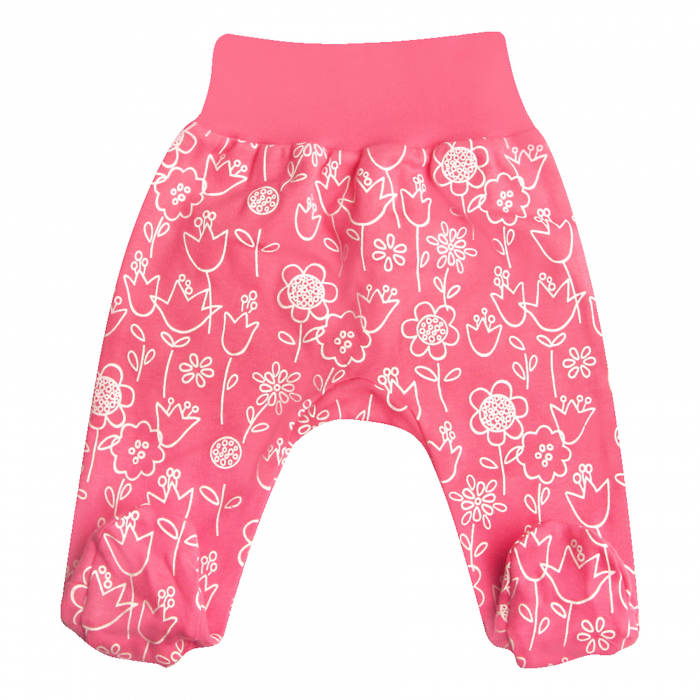 Pantaloni pijama cu talpa 100% bumbac organic_Flower 0