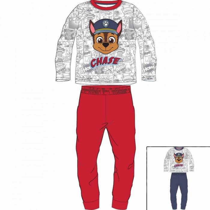 Pijama cu maneca lunga, doua piese, bumbac 100%, baieti, Rosu/Alb, Paw Patrol [0]