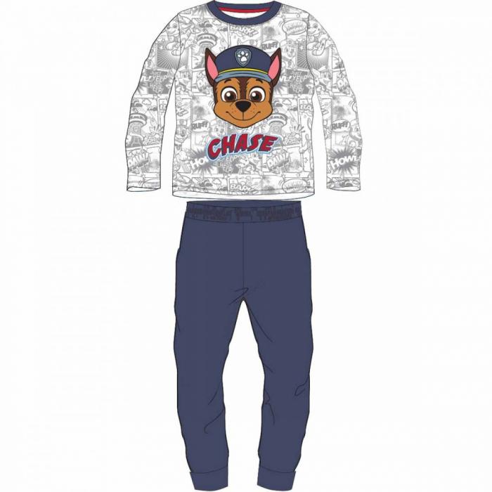 Pijama cu maneca lunga, doua piese, bumbac 100%, baieti, Albastru/Alb, Paw Patrol [0]