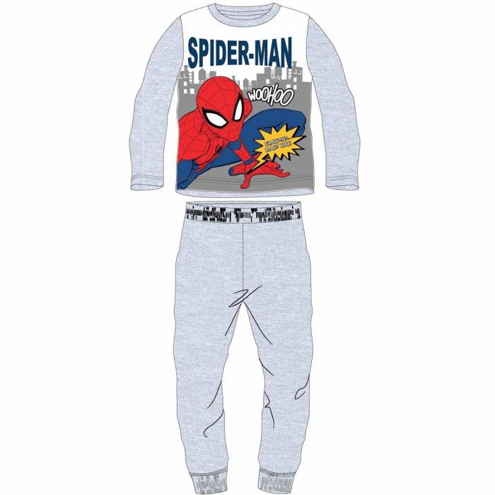 Pijama cu maneca lunga, doua piese, bumbac 100%, baieti, Gri/Alb, Spiderman 0