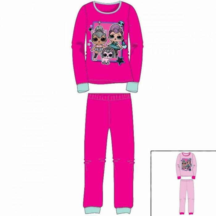 Pijama cu maneca lunga, doua piese, bumbac 100%, fete, Roz ticlam, LOL 0