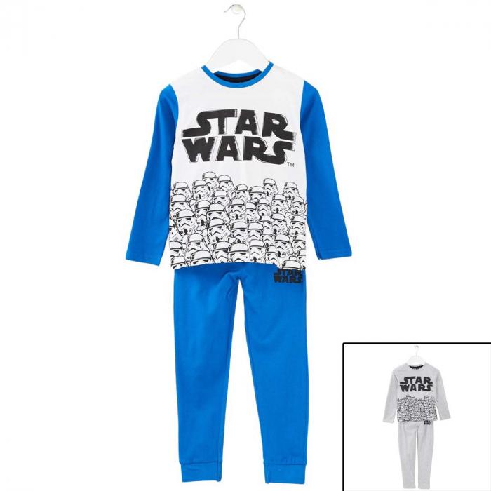 Pijama cu maneca lunga, doua piese, bumbac 100%, baieti, Alb/Albastru, Star Wars [0]