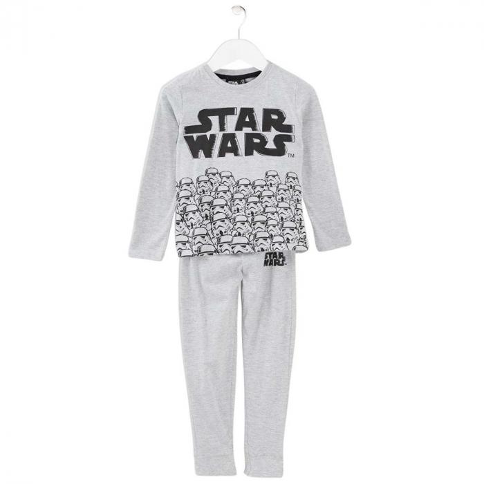 Pijama cu maneca lunga, doua piese, bumbac 100%, baieti, Gri, Star Wars 0