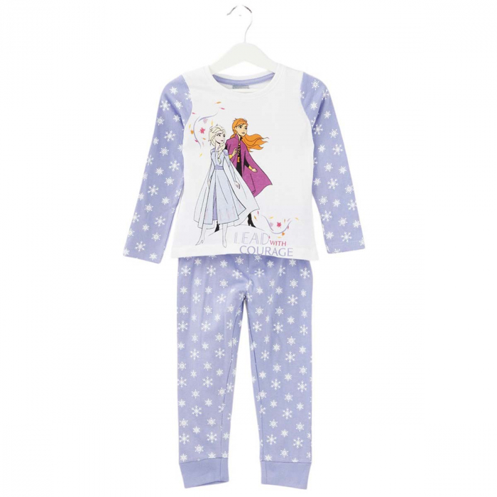 Pijama cu maneca lunga, doua piese, bumbac 100%, fete, Alb/Mov, Frozen 0