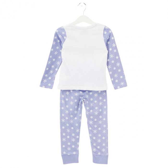 Pijama cu maneca lunga, doua piese, bumbac 100%, fete, Alb/Mov, Frozen 1