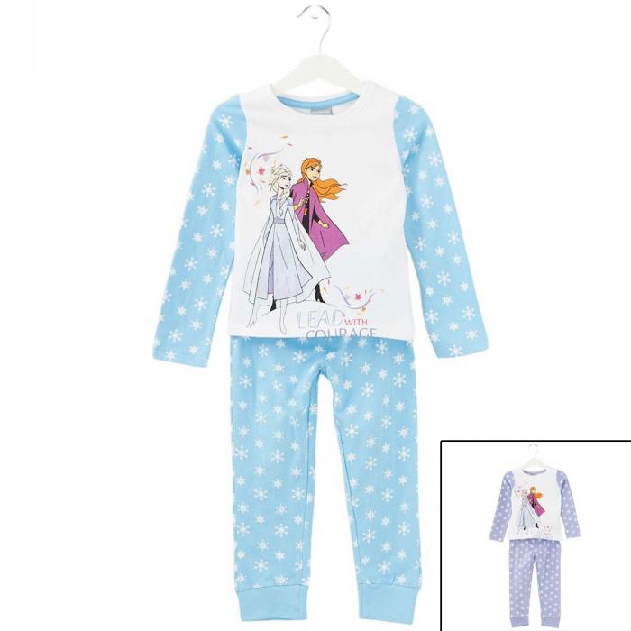Pijama cu maneca lunga, doua piese, bumbac 100%, fete, Alb/Albastru, Frozen [0]