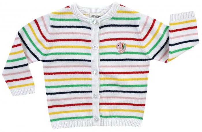 Cardigan cu maneca lunga si nasturi, bumbac organic 100%, fete, Alb/Dungi colorate, Colour Up My Life [0]