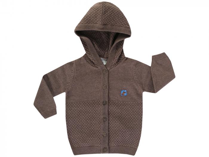 Cardigan tricotat cu gluga si nasturi, bumbac 100%, Maro [0]