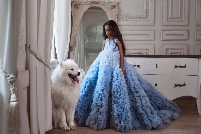 Rochie eleganta lunga, Tull, Albastra [0]