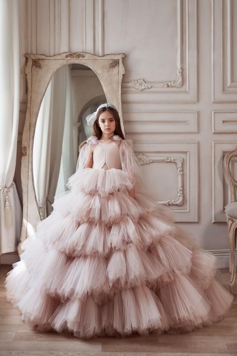 Rochie eleganta lunga, volane, Tull, Roz [0]
